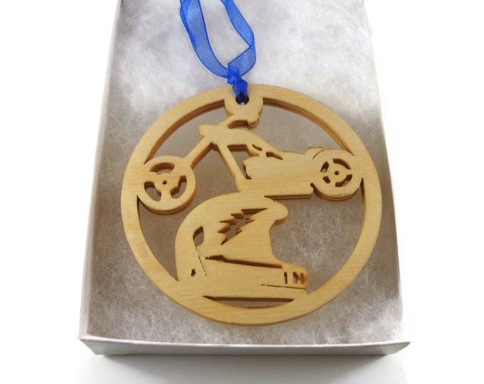 Chopper Bike And Motorcycle Helmet Christmas Ornament Handmade From Birch Wood By KevsKrafts