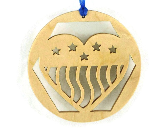 Half Staff Flag Honoring Fallen Military Soldiers Christmas Ornament Handmade From Birch Wood
