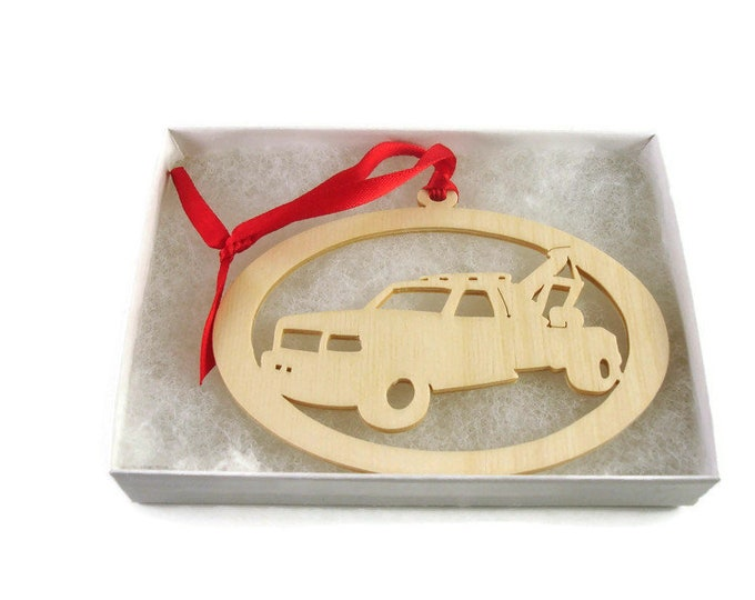 Wrecker Or Tow Truck Christmas Ornament Handmade From Birch Wood By KevsKrafts BN-10