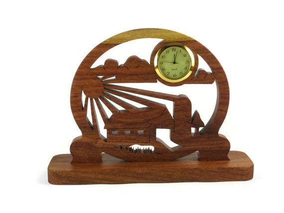 Farm Barnyard Scene Desk Clock Handmade From Cherry Wood By KevsKrafts