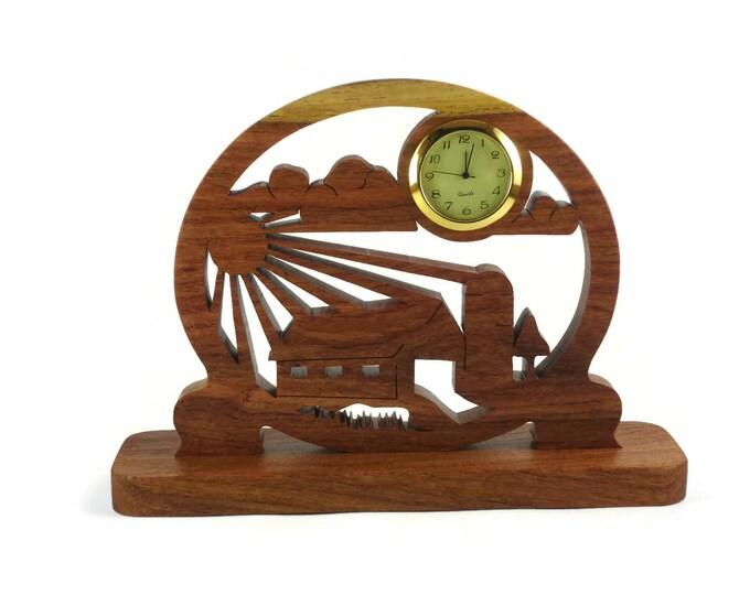 Farm Barnyard Scene Desk Clock Handmade From Cherry Wood By KevsKrafts
