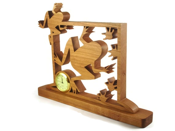 Frogs With Footprints Mini Desk Clock Handmade From Cherry 1-7/16 Quartz Clock