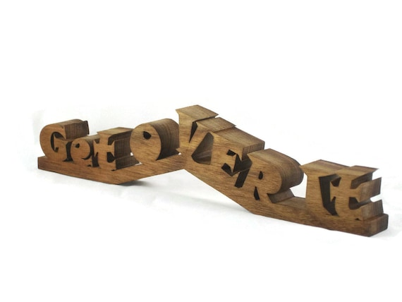 "Desk Or Shelf Word Art Decor ""Get Over It"" Handmade From Walnut Wood"