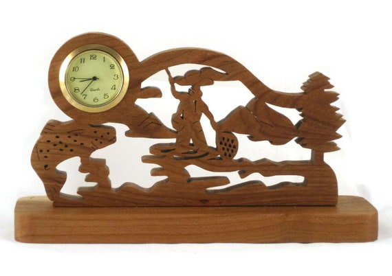 Trout Fishing Scene Desk Clock Handmade From Cherry Wood 1-7/16 Quartz Clock Insert