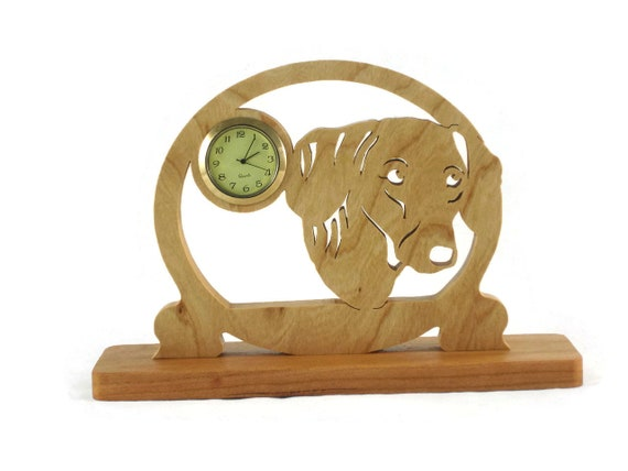 Dachshund Desk Shelf Clock Handmade Frome Cherry Wood By KevsKrafts