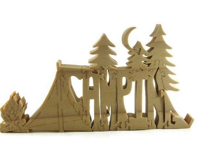 Camping Themed Scroll Saw Wood Puzzle Handmade From Poplar Lumber By KevsKrafts