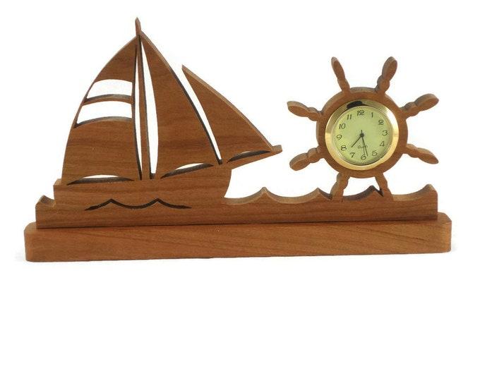 Gone Sailing Sailboat Mini Desk Clock Handmade From Cherry Wood