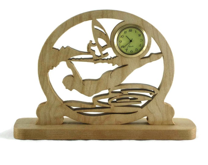 Water Sports Themed Desk Clock Handmade From Cherry Or Maple Wood, Diving, Sailing, Swimming, Summertime Fun