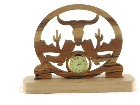 Western Themed Mini Desk Or Shelf Clock Handmade From Spalted Maple Wood