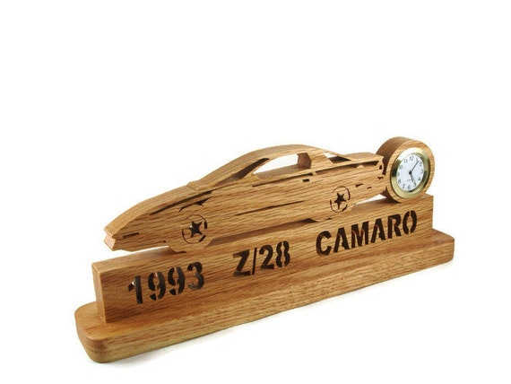 1993 Z28 Camaro Desk Or Shelf Clock Handmade From Oak Wood By KevsKrafts