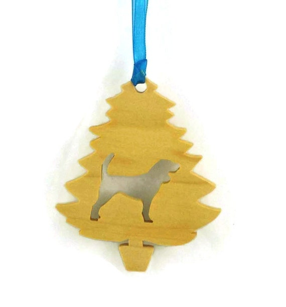 Beagle Christmas Tree Ornament Handmade From Poplar Wood