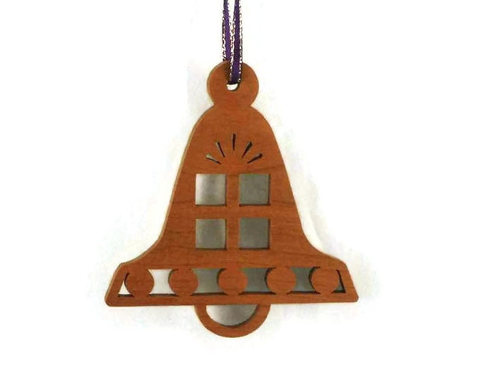 Christmas Gift Bell Shaped Ornament Handmade From Cherry Wood, Christmas Present, Holiday Bells,