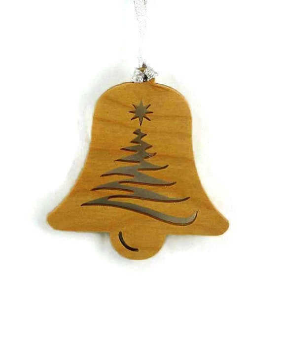 Bell Christmas Ornament With Tree and Star Handcrafted from Birch Wood