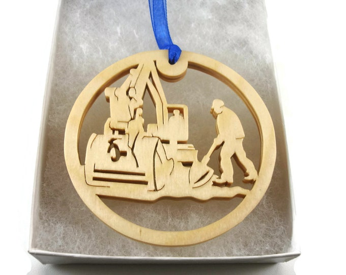 Crane Operator Or Construction Laborer Christmas Ornament Handmade From Birch Wood By KevsKrafts BN-002-1