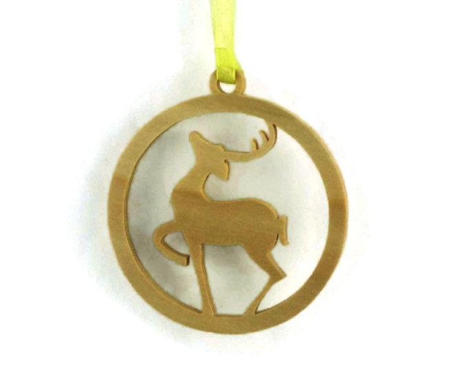 Reindeer Christmas Tree Ornament Handcrafted from Poplar Wood