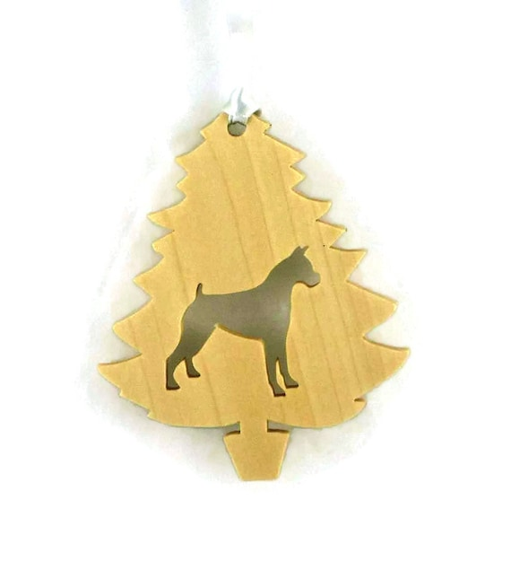 Boxer Christmas Ornament Handmade From Poplar Wood, Tree Ornament, Dog Ornament, Dog Decoration, Pet Decoration, Wood Ornament