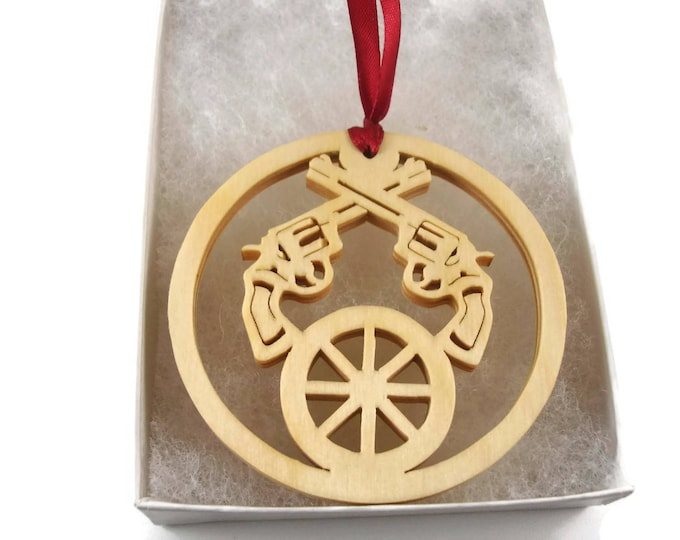 Western Themed Christmas Ornament With Pistols And Wagon Wheel, Handmade From Birch Wood By Kevskrafts
