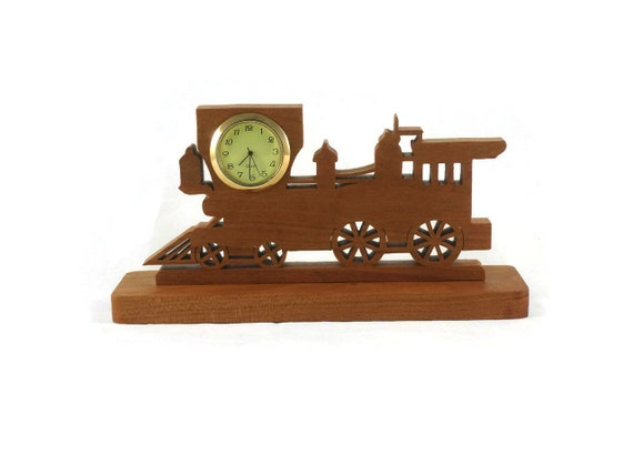 Train Locomotive Desk Clock Handmade From Cherry Wood NFB-1