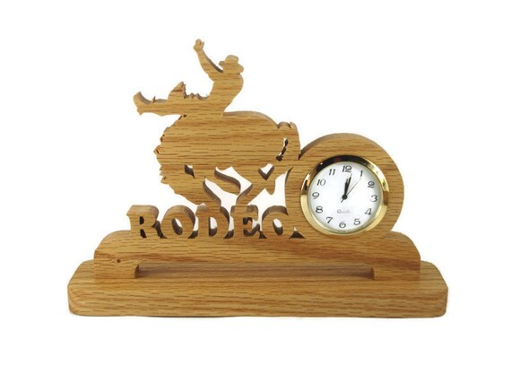 Rodeo Bucking Bronco Desk Or Shelf Clock Handmade From Oak Wood By KevsKrafts