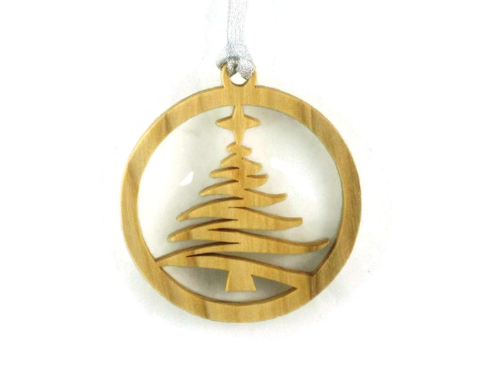 Christmas Tree With Shining Star Handcrafted From Birch Wood BN-15