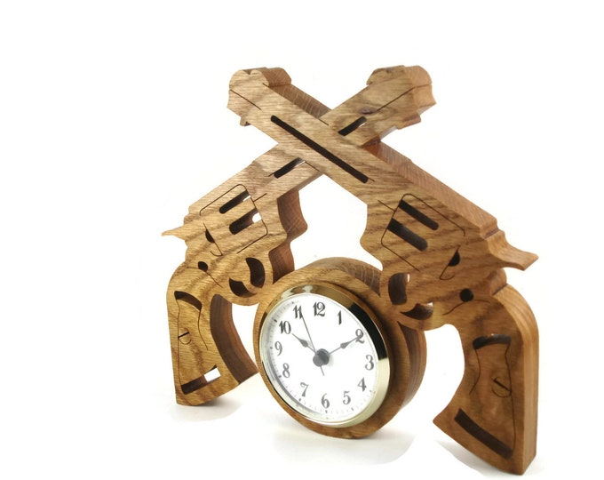 Six Shot Revolver Pistol Wall Hanging Clock Handmade From Oak Wood By KevsKrafts