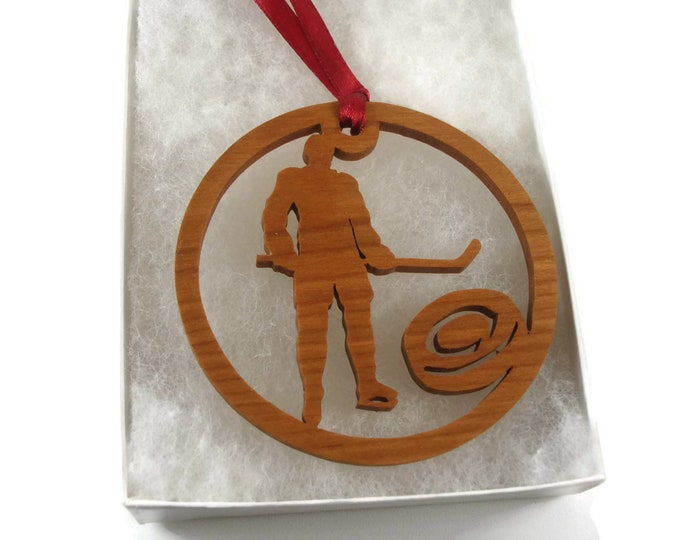 Hockey Player With Hockey Puck Christmas Ornament Handmade From Cherry Wood By Kevskrafts