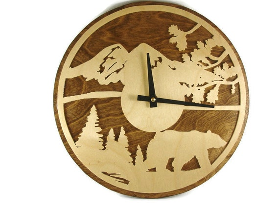 Bear Scene Wall Clock Handmade From Birch Wood By KevsKrafts