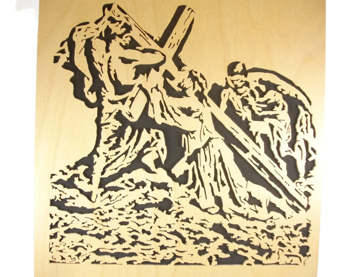 Jesus Falling Beneath The Cross Wood Wall Hanging Portrait Handcrafted From Birch Plywood