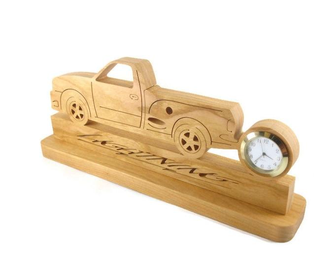 Ford Lightning Pickup Truck Desk Clock Handmade From Cherry Lumber
