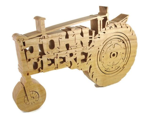 Antique John Deere Farm Tractor Scroll Saw Puzzle Handmade From Hardwood By KevsKrafts