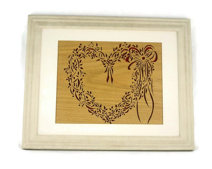 Framed Heart Wreath Wall Art Decor Handmade from Oak Wood