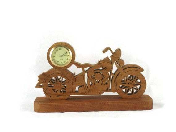 Vintage Style Motorcycle Mini Desk Clock Handmade From Cherry Wood By KevsKrafts