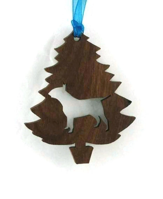 Bull Terrier Christmas Tree Ornament Handmade from Walnut Wood