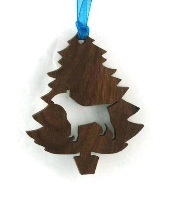Bull Terrier Christmas Tree Ornament Handmade from Walnut Wood