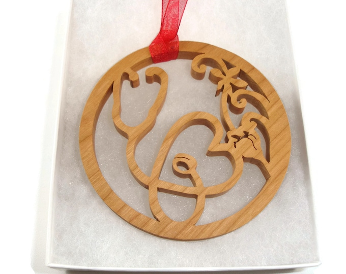 Doctor, Nurse, Or Veteranarian Stethoscope Christmas Ornament Handemade From Cherry Wood By KevsKrafts BN-003-3