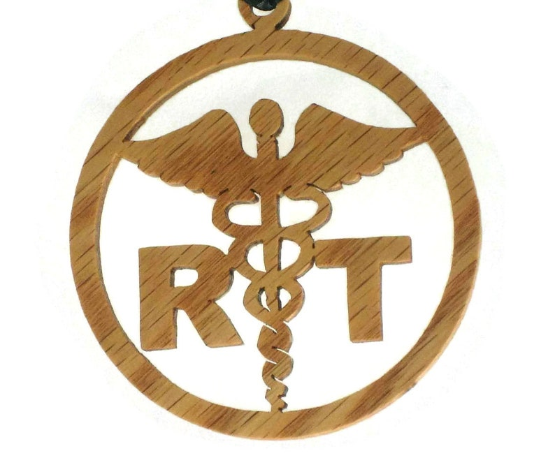 Respiratory Therapist Christmas Ornament Handmade From Oak image 0