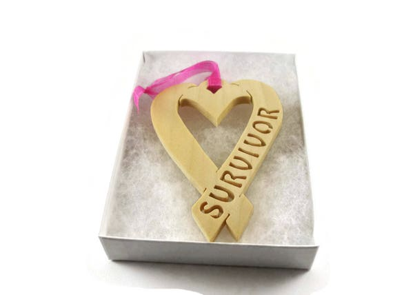 Survivor Heart Shape Ribbon Handmade From Birch Plywood By KevsKrafts