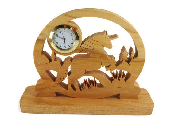 Unicorn Desk Or Shelf Clock Handmade From Cherry Wood Using A Scroll Saw By KevsKrafts