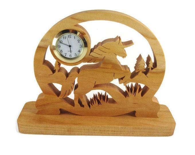 Unicorn Desk Or Shelf Clock Handmade From Cherry Wood Using A Scroll Saw By KevsKrafts