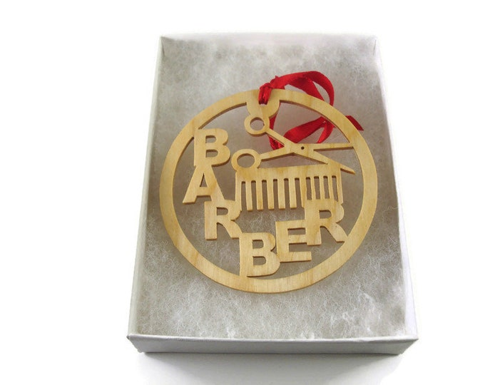Barber Comb and Scissors Christmas Ornament Handmade from Birch Wood By KevsKrafts