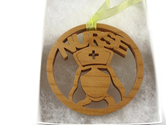 Nurse Christmas Ornament Handmade From Cherry Wood By KevsKrafts, Nurse Cap, RN, Xmas Ornament, Unique Gift
