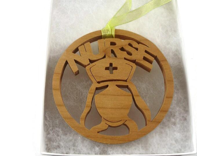 Nurse Christmas Ornament Handmade From Cherry Wood By KevsKrafts, Nurse Cap, RN, Xmas Ornament, Unique Gift