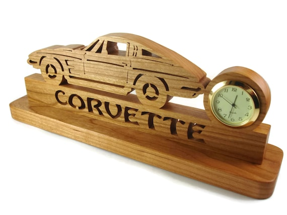 1963 - 67 Corvette Desk Or Shelf Quartz Clock Handmade From Cherry Wood By KevsKrafts