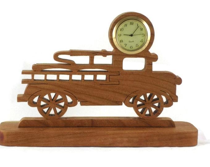 Fire Engine Ladder Truck Desk Clock With Quartz Insert Handmade From Cherry Wood NFB-1