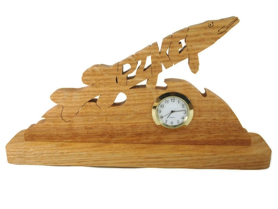 Pike Fish Desk Or Shelf Clock Handmade From Oak Wood By KevsKrafts