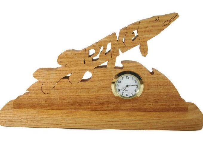 Pike Fish Desk Or Shelf Clock Handmade From Oak Wood By KevsKrafts