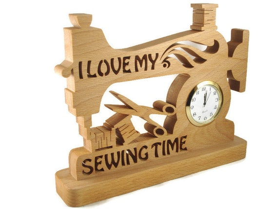 Sewing Machine Desk Quartz Clock Handmade from Beech Wood By KevsKrafts