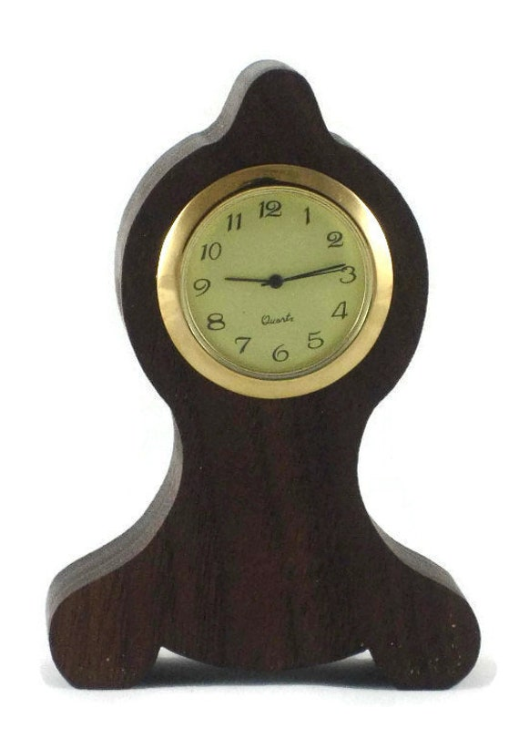 Executive Series Mini Desk Clock For Home And Office Decor Handmade From Walnut