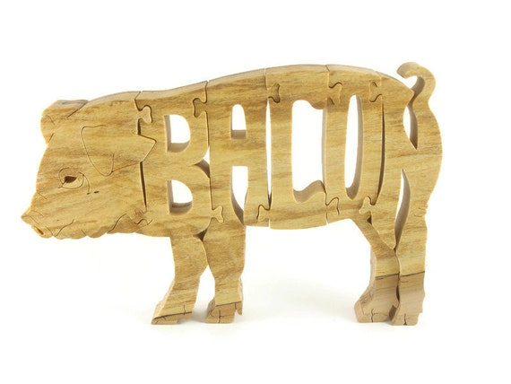 Pig Bacon Wood Scroll Saw Puzzle Handmade By KevsKrafts