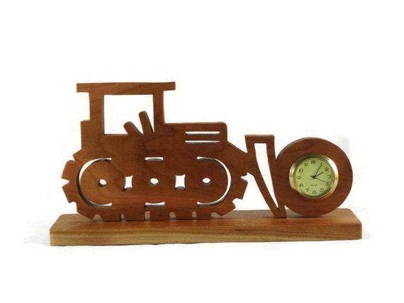 Bulldozer Mini Desk / Shelf Clock Handmade From Cherry Wood, Excavating Clock